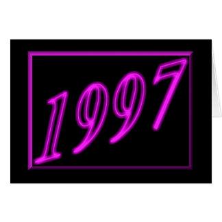 Feliz cumpleaños 1997 años de los años 90 de neón tarjeta de felicitación