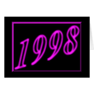 Feliz cumpleaños 1998 años de los años 90 de neón tarjeta de felicitación