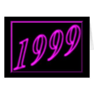 Feliz cumpleaños 1999 años de los años 90 de neón tarjeta de felicitación