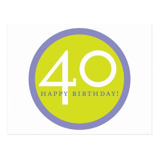 ¡Feliz cumpleaños, 40! Tarjetas Postales