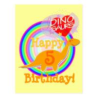 Feliz cumpleaños 5 años de postal anaranjada de