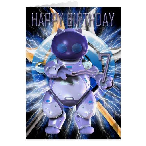 Feliz cumpleaños 7mo, gatito del robot, gato del r felicitaciones