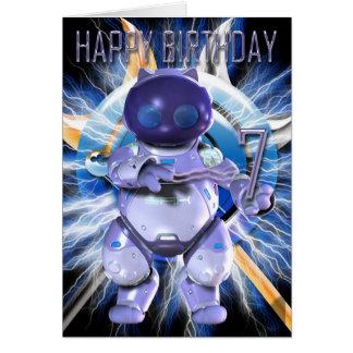 Feliz cumpleaños 7mo, gatito del robot, gato del felicitaciones