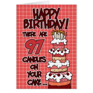 Feliz cumpleaños - 97 años tarjeta de felicitación