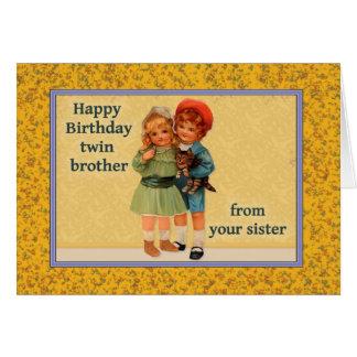 Feliz cumpleaños a Brother gemelo de la hermana Tarjeta