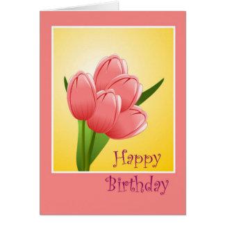 Feliz cumpleaños a la esposa del marido con las fl tarjetas