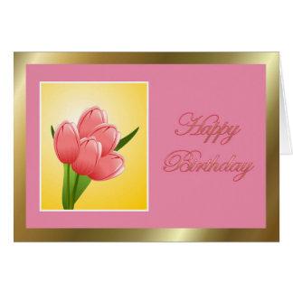 Feliz cumpleaños a la esposa del marido con las fl felicitación