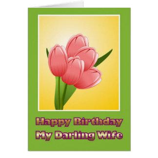 Feliz cumpleaños a la esposa del marido con las fl tarjeton