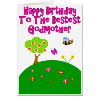 Feliz cumpleaños a la tarjeta de la madrina de