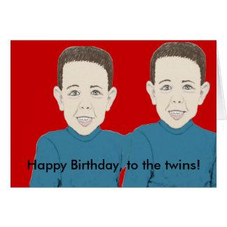 Feliz cumpleaños a la tarjeta de los gemelos
