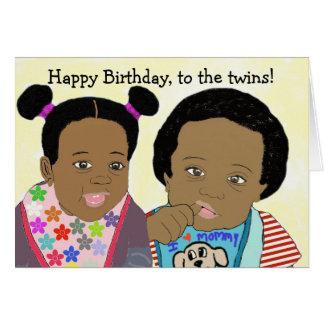 Feliz cumpleaños, a la tarjeta de los gemelos
