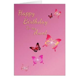 Feliz cumpleaños a la tía tarjeta de felicitación