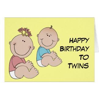 Feliz cumpleaños a los gemelos tarjetón