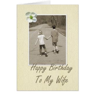 Feliz cumpleaños a mi esposa - muchacho y chica tarjeta de felicitación