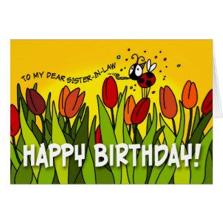 Feliz cumpleaños - a mi estimada cuñada tarjeta de felicitación