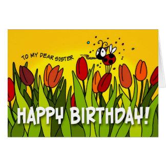 Feliz cumpleaños - a mi estimada hermana tarjeta de felicitación