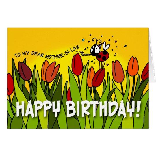 Feliz cumpleaños - a mi estimada suegra tarjeta de felicitación