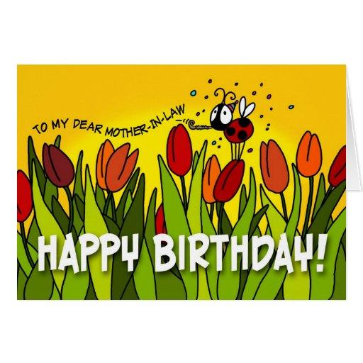 Feliz cumpleaños - a mi estimada suegra tarjetón
