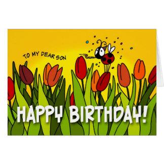 Feliz cumpleaños - a mi estimado hijo tarjeta de felicitación