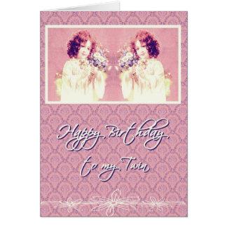 feliz cumpleaños a mi hermana gemela tarjeta de felicitación