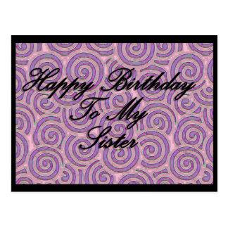 Feliz cumpleaños a mi hermana postal