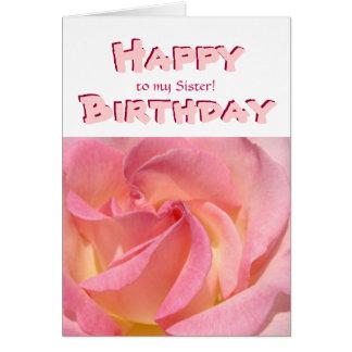 ¡Feliz cumpleaños a mi hermana! SIS color de rosa  Tarjeton