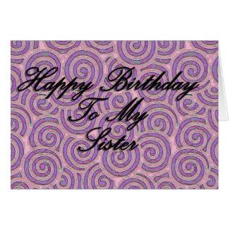 Feliz cumpleaños a mi hermana tarjeta de felicitación