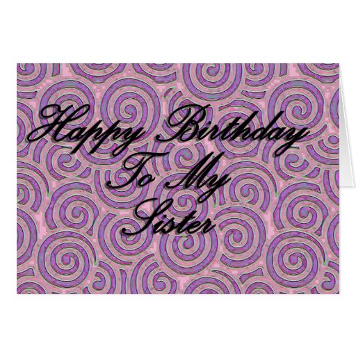Feliz cumpleaños a mi hermana tarjetón