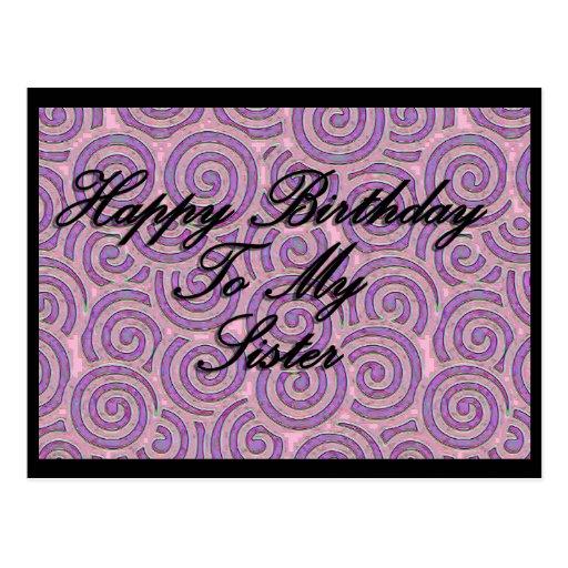 Feliz cumpleaños a mi hermana tarjeta postal