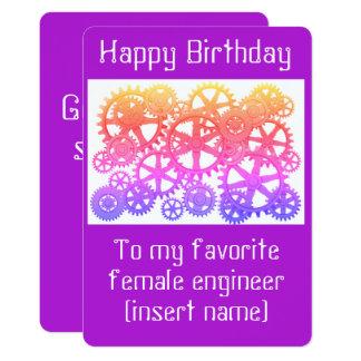 ¡Feliz cumpleaños a mi ingeniero de sexo femenino Invitación 12,7 X 17,8 Cm