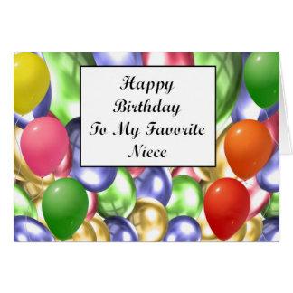 Feliz cumpleaños a mi sobrina preferida tarjeta de felicitación
