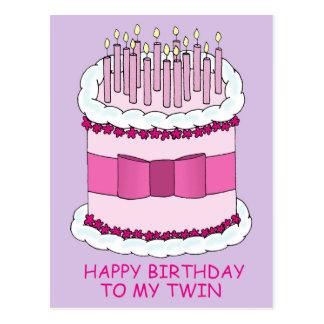 Feliz cumpleaños a mi torta gemela, grande con las postal