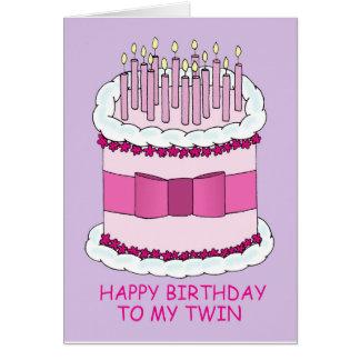 Feliz cumpleaños a mi torta gemela, grande con las tarjeta de felicitación