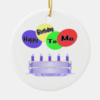 Feliz cumpleaños a mí torta y globos adorno redondo de cerámica