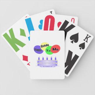 Feliz cumpleaños a mí torta y globos barajas de cartas