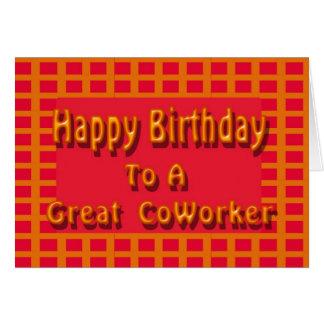 Feliz cumpleaños a un gran compañero de trabajo tarjeta de felicitación