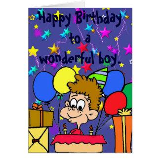 Feliz cumpleaños a un muchacho maravilloso tarjeta de felicitación