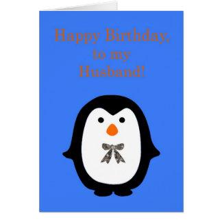 Feliz cumpleaños al marido con el pingüino felicitaciones