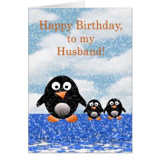 Feliz cumpleaños al marido con los pingüinos felicitaciones