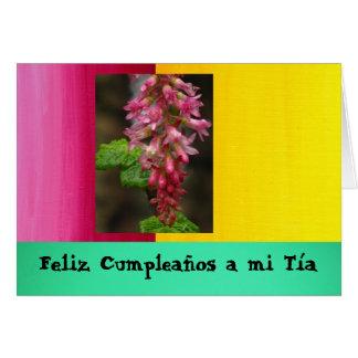 Feliz Cumpleaños al MI Tía - flor rosada de la pas Tarjeton
