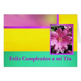 Feliz Cumpleaños al MI Tía - flor rosada Tarjeta De Felicitación
