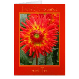 Feliz Cumpleaños al MI Tía - Las Dalias Naranjas Felicitación