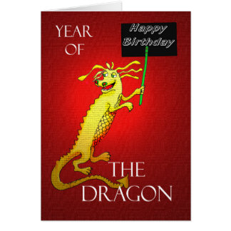 Feliz cumpleaños, año chino del dragón tarjeta de felicitación