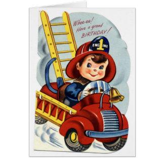 Feliz cumpleaños - bombero joven tarjeta de felicitación