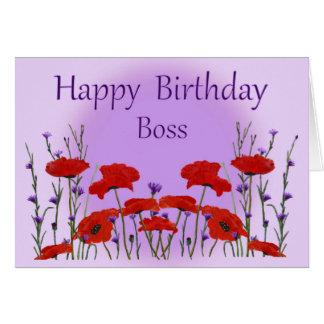 Feliz cumpleaños Boss del grupo con las amapolas Tarjeta De Felicitación