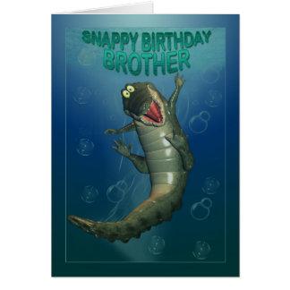 Feliz cumpleaños Brother, cocodrilo rápido del Tarjeta De Felicitación