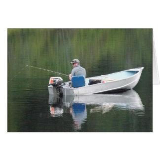 Feliz cumpleaños Brother que pesca en el lago en Tarjeta