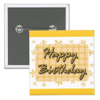 Feliz cumpleaños chapa cuadrada