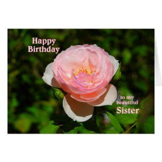 Feliz cumpleaños color de rosa rosado a la hermana tarjeta de felicitación