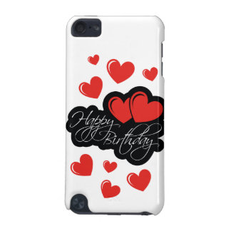 Feliz cumpleaños con dos corazones rojos carcasa para iPod touch 5G
